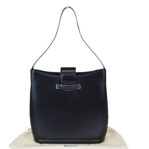 Authentic BALLY B Logos Shoulder Bag Leather Metal